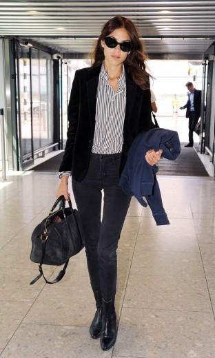 ALexaChung-Heathrow-saint-laurent-velvet-blazer-look
